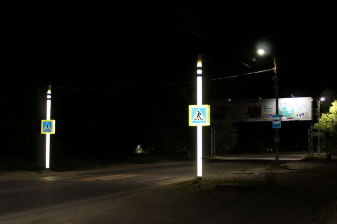 В Бийске установили столбы с подсветкой, предупреждающие водителей о пешеходах